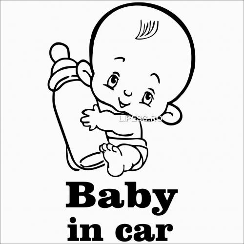 Sticker baby in car