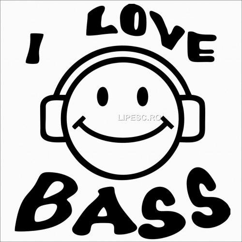Sticker I love bass