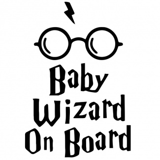 Sticker baby wizard on board